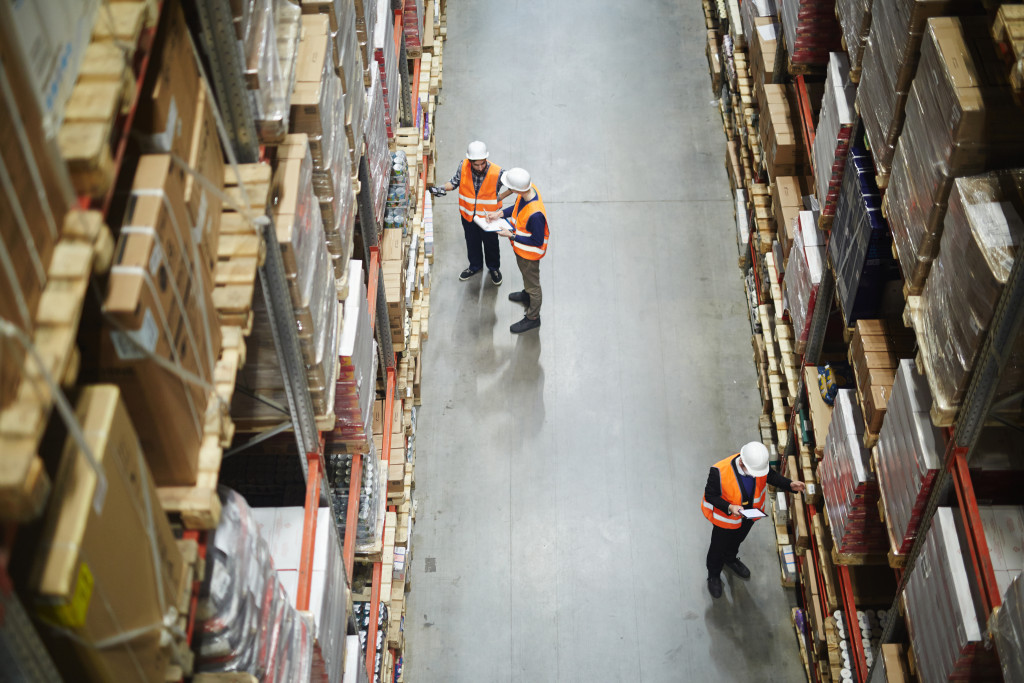 people at a warehouse